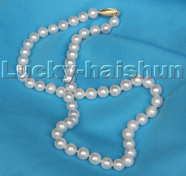 """AAA natural 18"""" 8-9mm round white pearls beads necklace 14KT clasp c111"""