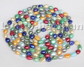 """Long 100"""" 11mm Baroque Freeform potato Multi-color pearls beads Strand necklace c112"""