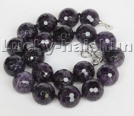 """AAA 100% natural 19"""" 20mm round amethyst gemstone beads necklace c113"""