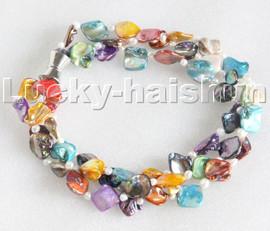 "8"" 3row Baroque white pearls Multicolor seashell bracelet magnet clasp c114"