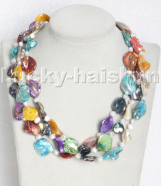 """18"""" 3row Baroque white pearls Multicolor seashell necklace magnet clasp c115"""