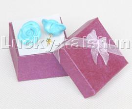 natural 19mm carven rose flower sky-blue turquoise Earrings 14KT stud c116
