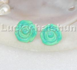 natural 18mm carven rose flower green turquoise Earrings 14KT stud c118