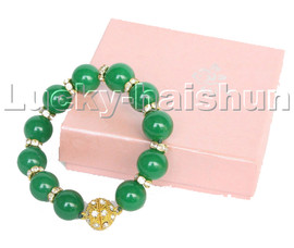 """natural healthy 8"""" 14mm round green jade beads Bracelet magnet clasp c119"""