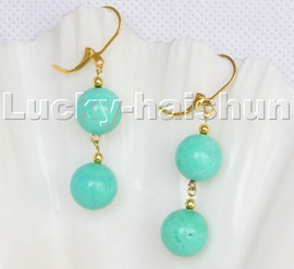 natural dangle 12mm round green turquoise beads Earrings 14KT hoop c120