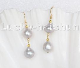 luster natural Dangle 12mm drop gray pearls Earrings 14K gold hook c121