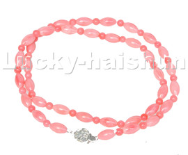 """natural 18"""" Baroque rice round pink coral beads necklace 925 silver clasp c124"""
