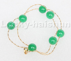 """natural 16"""" 10mm Chain round green jade beads Choker necklace GIFT packing c127"""