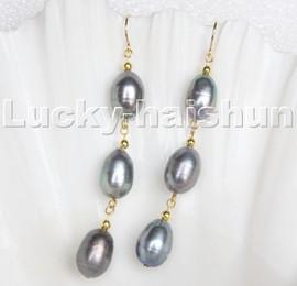 "AAA 3"" 14mm rice baroque peacock black pearls dangle earrings 14KT hook c129"