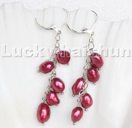 AAA baroque wine red freshwater pearls dangle earrings 18KGP hoop c130