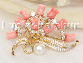AAA 100% natural carved pink coral flower brooch filled gold c131