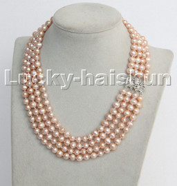 """natural 16"""" 8mm 4row pink round freshwater pearls necklace 18KGP clasp c132"""