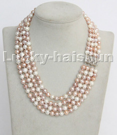 """natural 16"""" 8mm 4row Multicolor round freshwater pearls necklace 18KGP clasp c133"""