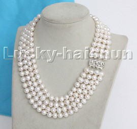 """natural 16"""" 8mm 4row white round freshwater pearls necklace 18KGP clasp c134"""