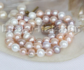 """Super Luster natural 18"""" 9mm Multicolor round freshwater pearls necklace c135"""