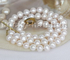 """Super Luster natural 18"""" 9mm white round freshwater pearls necklace c136"""