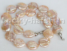 "Luster natural 17"" 17mm pink coin fastener Reborn keshi pearls necklace c137"