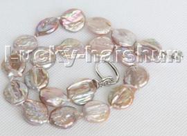"Luster natural 17"" 17mm purple coin fastener Reborn keshi pearls necklace c138"