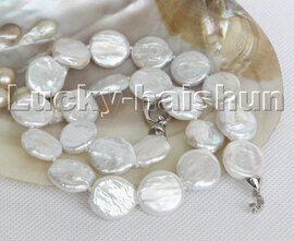 """Luster natural 17"""" 17mm white coin fastener Reborn keshi pearls necklace c139"""