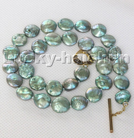 """17"""" 11mm green coin fastener freshwater pearls necklace c140"""