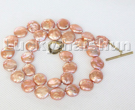 "17"" 11mm dark champagne coin fastener freshwater pearls necklace c141"
