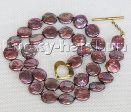 """17"""" 11mm coin fastener wine red freshwater pearls necklace c143"""
