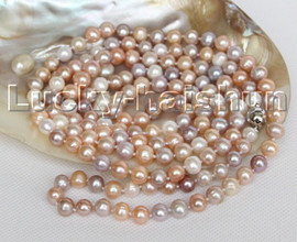 """Long luster 53"""" 9mm round white pink purple MIX pearls necklace magnet clasp c145"""