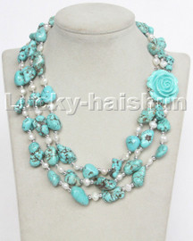 """17"""" 3row Natural baroque white pearls blue turquoise necklace turquoise clasp c146"""