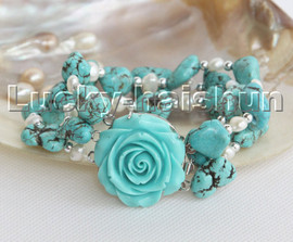 """8"""" 3row Natural baroque white pearls blue turquoise bracelet turquoise clasp c147"""