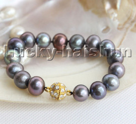 "Natural 8"" 12mm round Multicolor Black pearls bracelet magnet clasp c148"