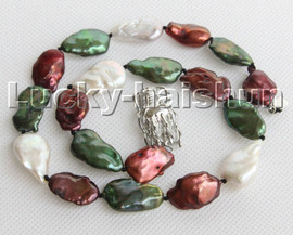 """17.5"""" 23mm Baroque green white wine red Reborn Keshi pearls necklace 18KGP clasp c153"""