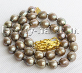 """Genuine 17"""" 12mm Baroque pear rice green freshwater pearls necklace c154"""
