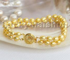 "AAAA 8"" 2row Baroque pear rice golden freshwater pearls bracelet c155"
