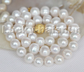 """Super Luster 17"""" 12mm Baroque white freshwater pearls beads necklace c156"""