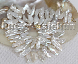 """Super Luster 17"""" 22mm Baroque tooth BIWA white pearls necklace 14K c157"""