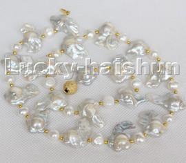 "22"" 21mm Baroque starfish white Reborn Keshi pearls necklace c158"