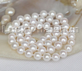 """AAAA 18"""" 7.5-8mm round white AKOYA salt water pearls necklace 14K clasp c159"""