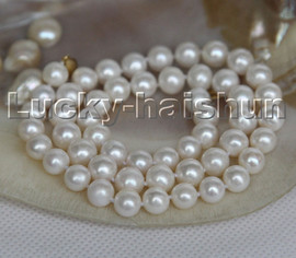 """natural 17"""" 9mm round white freshwater pearls beads necklace 14K clasp c160"""
