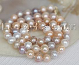 """natural 17"""" 9mm round white pink purple MIX pearls beads necklace 14K clasp c161"""