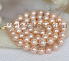 """natural 17"""" 9mm round pink freshwater pearls beads necklace 14K clasp c162"""