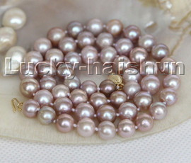 """natural 17"""" 9mm round purple freshwater pearls beads necklace 14K clasp c163"""