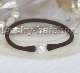"""natural 7"""" 11mm rubbery springy round white pearls coffee Silicone rubber Bracelet c165"""