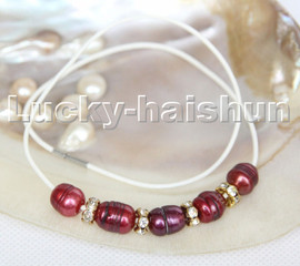 """Baroque 17"""" 13mm rice wine red freshwater pearls white leather necklace c174"""