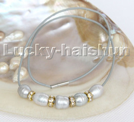 """Baroque 17"""" 13mm rice gray freshwater pearls gray leather necklace c176"""