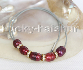 """Baroque 17"""" 13mm rice wine red freshwater pearls gray leather necklace c177"""