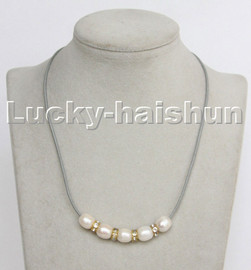"""Baroque 17"""" 13mm rice white freshwater pearls gray leather necklace c179"""
