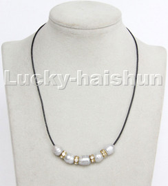 """Baroque 17"""" 13mm rice gray freshwater pearls black leather necklace c182"""