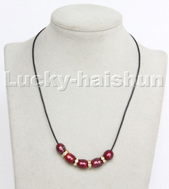 """Baroque 17"""" 13mm rice wine red freshwater pearls black leather necklace c183"""