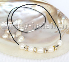 """Baroque 17"""" 13mm rice white freshwater pearls black leather necklace c184"""