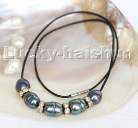 """Baroque 17"""" 13mm rice Black freshwater pearls black leather necklace c185"""